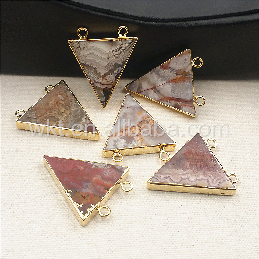 WT-P1016 Hot Sale Triangle Mexico At gate Pendant with double loops Gold Strim Design 35mm Natural Stone Pendant Wholesale