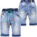 4024 buraco denim shorts jeans macio bezerro-comprimento das crianças calças jeans meninos verão 70% comprimento crianças capris menino calças de brim crianças