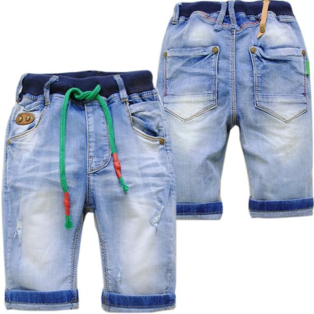 4024 soft hole denim jeans shorts  children's  calf-length pants boys summer jeans  70% length kids capris boy jeans  kids