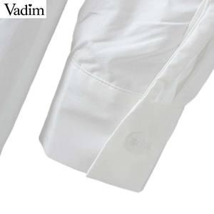 Image 5 - Vadim נשים שיק לבן ארוך חולצה סימטרי ארוך שרוול צווארון עומד קפלים חולצה מוצק נקבה מקרית חולצות blusas LA465