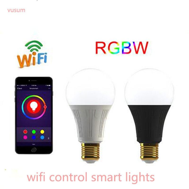LED RGBW луковица E27 B22 7 Вт rgbwifi умная лампа Alexa голосового управления освещение AC85-265V ...