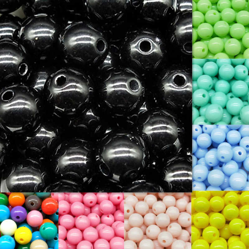 3/4/6/8/10mm 200/200/100/100/50pcs/lot Cheap Hot Acrylic Beads Fits for Handmade DIY Necklace Bracelet Jewelry Making Wholesale