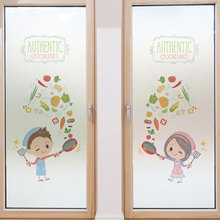 Kitchen Custom size window Glass Film Door Stickers no glue  Privacy Decals restaurant Hotel Sliding door New Year decorations