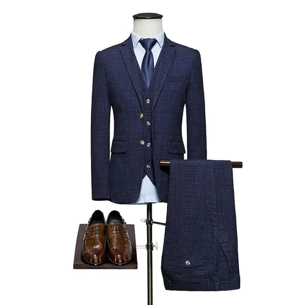 新ファッションフォーマルスーツボタンメンズスリムフィットビジネス男性結婚式花婿の付添人スーツ (ジャケット + パンツ + ベスト) アジアサイズ M-6XL