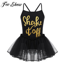 3cfae59925ad Shiny Letters Kids Ballet Dresses for Girls Bodysuit Braces Dress  Gymnastics Leotard Tutu Dance Wear Costumes Ballerina Clothes