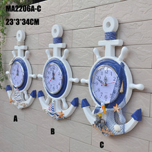 Mediterranean-style Home Wall Anchor Helmsman Clock Bell Wall Clocks