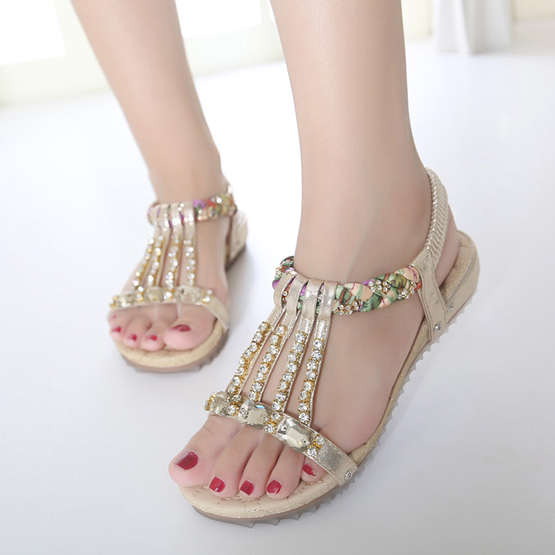 Bohemian Women's Sandals Gemstone Slippers Summer Women Beach Sandals Ladies Flat Sandals Shoes Women Zapatos Mujer 5