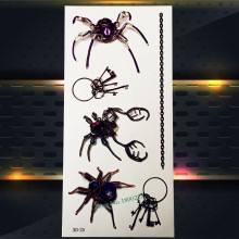 1PC 3D Black Spider King Flash Waterproof Tattoo Children Gifts Temporary Body Art Arm Tatoo P3D-25 Cool Boy Tattoo Sticker Men(China)
