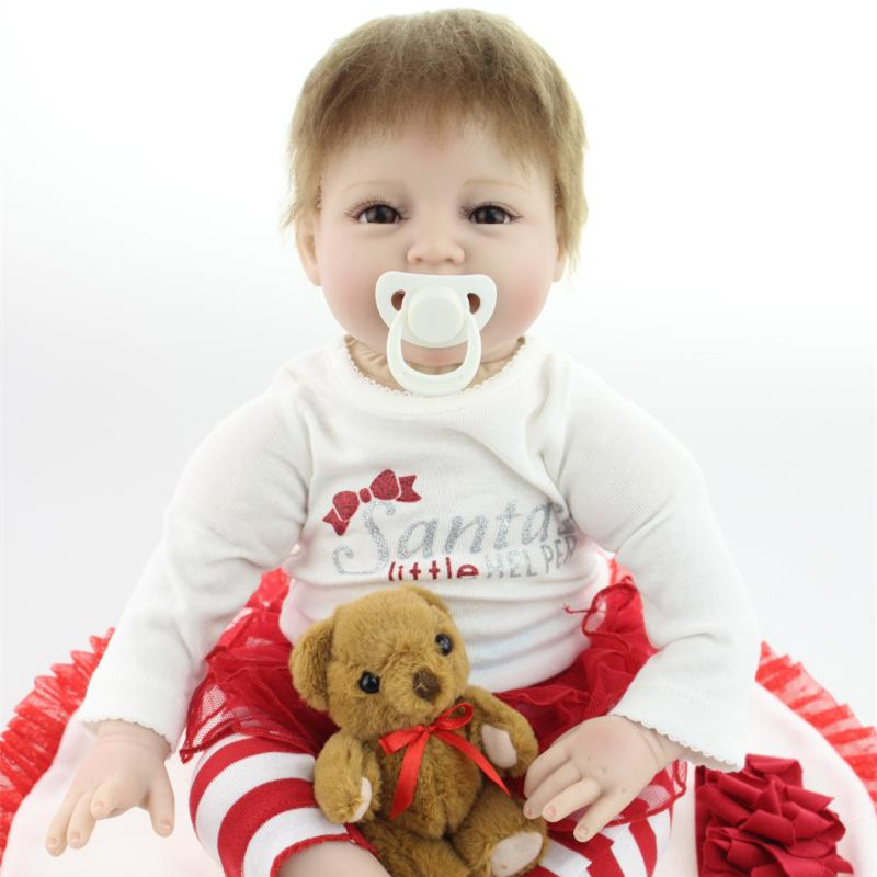 Soft Silicone Reborn Baby Dolls 22 Inch New Fashion 55cm Realistic Girl Dolls With Bear Toys