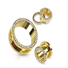 1piece Gold Ear Plugs Tunnels Flesh Expansions Piercing Crystal Ear Plug Earring Gauges Ears Expander Rings Fashion Body Jewelry