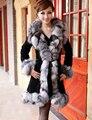 2016 Новый Женщины Подлинная Silver Fox Меховой Длинный Жакет Моды Натуральная Кожа Пальто Зимняя Мода Лисий Мех И Пиджаки