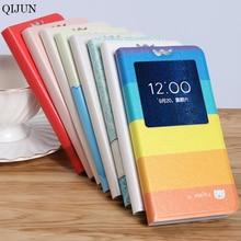 цена на QIJUN Case capa For Alcatel One Touch Pixi 4 5.0 5045X 5045D 5045 Painted Cartoon Magnetic Flip Window PU Leather Phone Cover