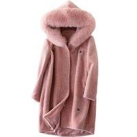 Korean Autumn Winter Jacket Women Clothes 2018 Real Fur Coat Fox Fur Hooded Wool Coat Sheep Shearling Manteau Femme Hiver ZT1442