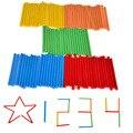 BOHS 100 unids Niños del Bebé de Aprendizaje Del Juego Stick Bar Contando Varilla Aritmética Matemáticas medios de Enseñanza Montessori Verde Rojo Amarillo azul