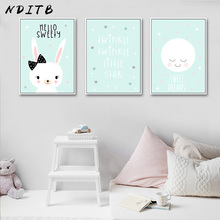NDITB Baby Nursery Wall Art Canvas Painting Cartoon Posters and Prints Nordic Kids Decoration Pictures Children Bedroom Decor