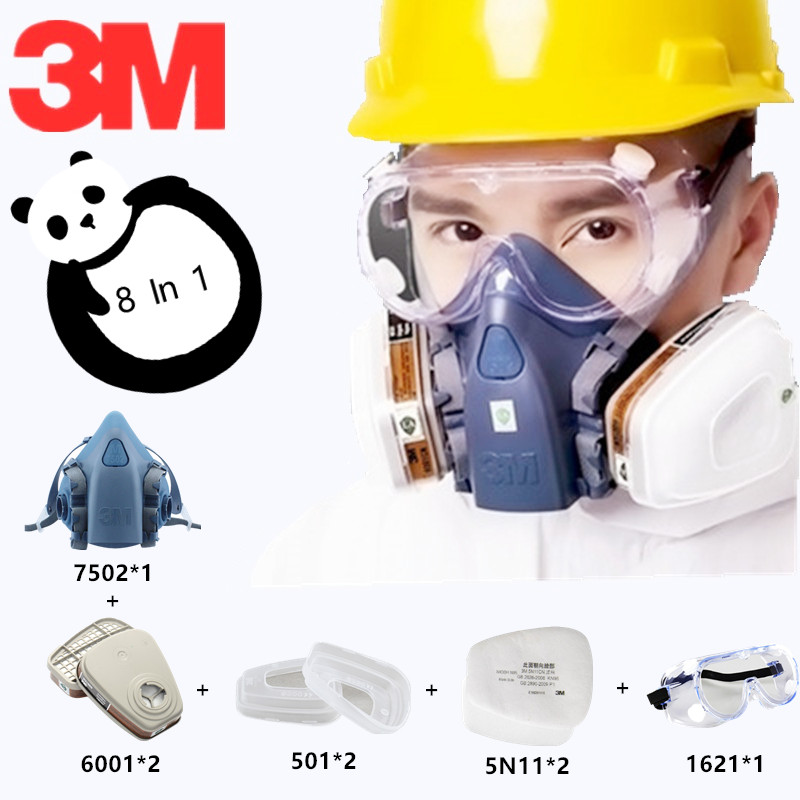 8 In 1 3M 7502 6001 Half Gas Mask Organic Vapor Silicone Respirator Protective Paint Spray Mask Carbon Filter Working Dust Mask