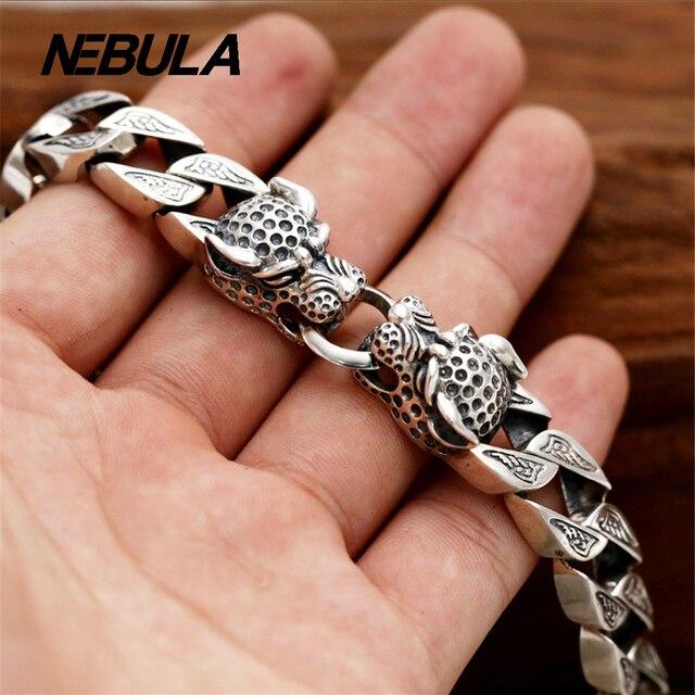 100% Genuine 925 Sterling Silver Vintage Leopard Punk Link Chain Bracelet Thai Silver Jewelry for Man or Women Jewelry 9mm