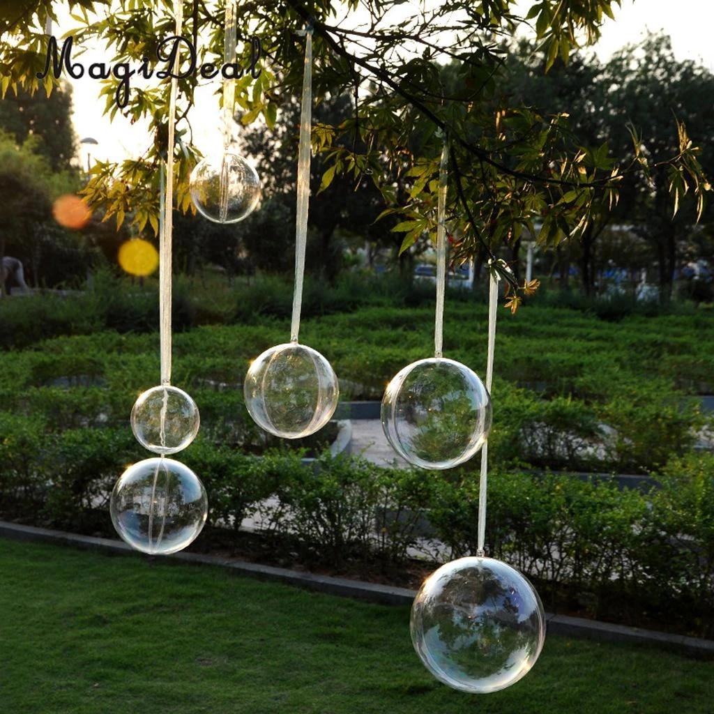 10pcs Clear Plastic Balls Sphere Bauble Christmas Tree Hanging Decor