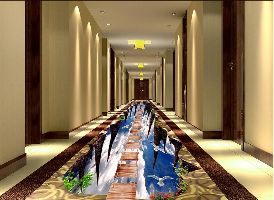 Modern Custom 3D Floor Mural Sky Wooden Bridge Floor Painting PVC Wall Paper Self-adhesive Floor Mural 3D Wallpaper free shipping custom self adhesive home decoration floor living room bedroom bathroom wallpaper mural dolphin ocean 3d floor