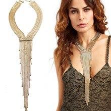 2016 Nueva Plata Caliente de la Borla Collar de Cadena de Oro Colgante Collar de la Declaración Mujeres Maxi Boho Gargantilla Decorativo Joyería Collier Femme