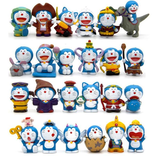 24pcs lot cartoon doraemon cute figures toys full set doraemon pvc