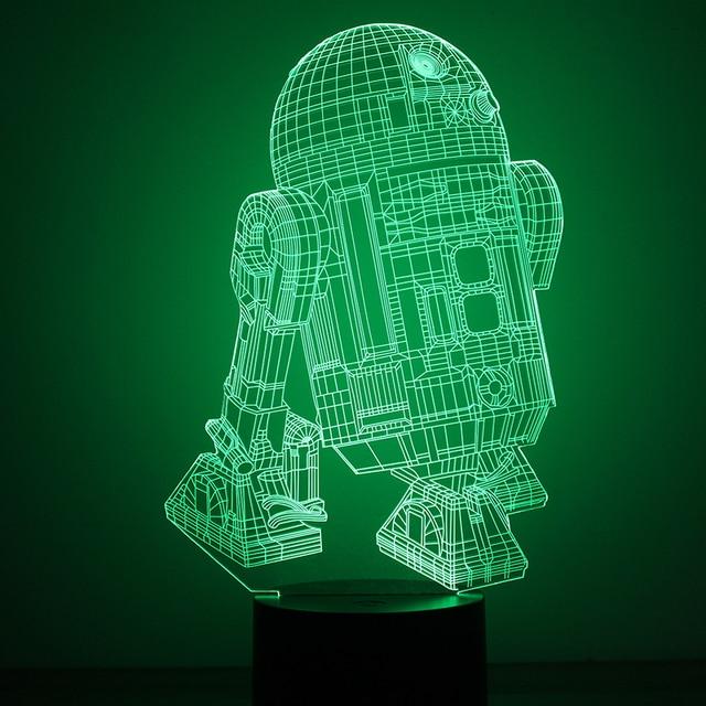 Creative USB LED Star Wars Robot R2D2 B NightLight 3D Visual Atmosphere  Lights Baby Sleep