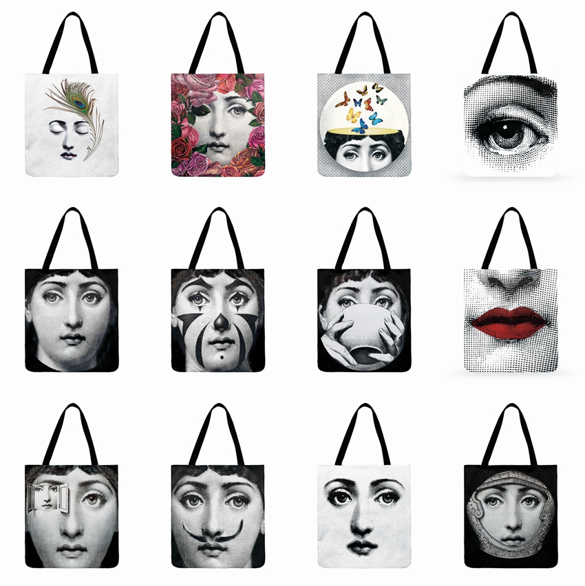 Fornasetti Printed Foldable Shopping Bag Ladies Face Girl Painting Tote Bag Ladies Shoulder Bag Outdoor Casual Beach Bag