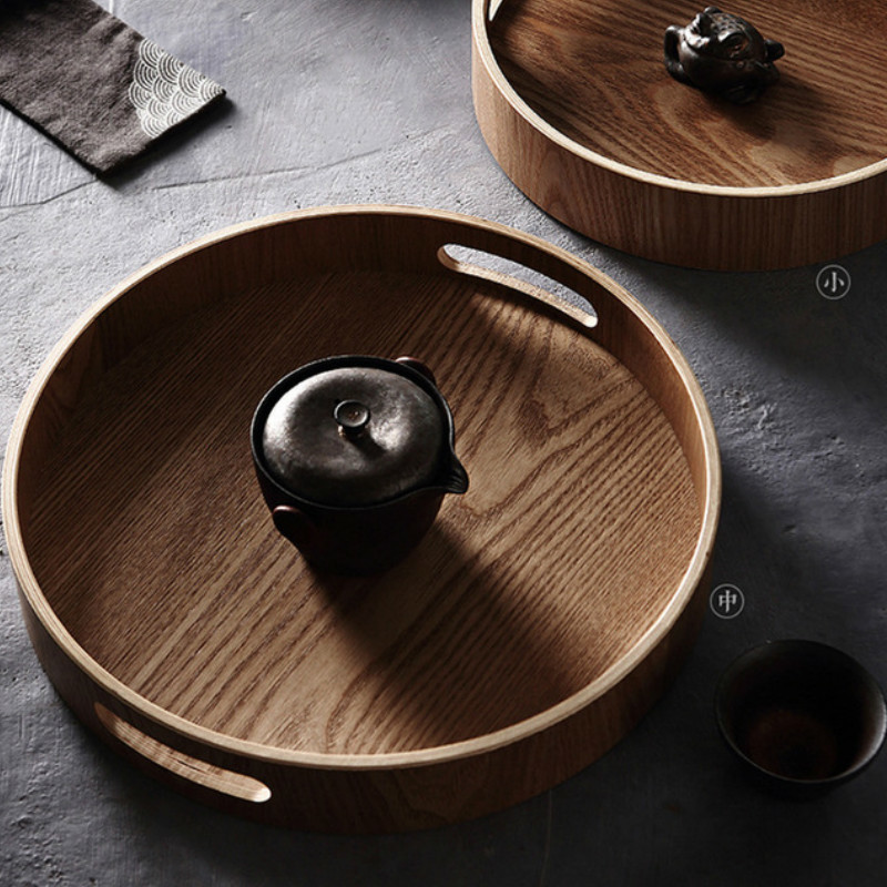Wooden Round/Oval/rectangular Serving Tray Wood Plate Tea Food Dishe Drink Platter Food Plate Dinner Beef Steak Fruit Snack Tray