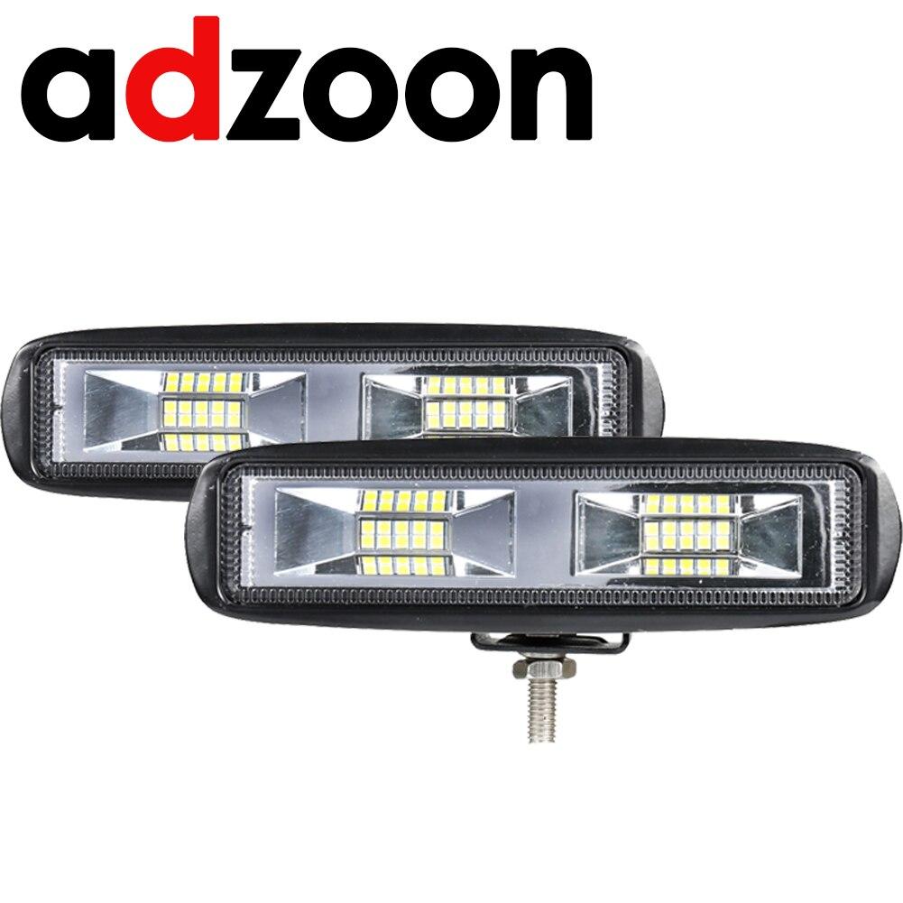 ADZOON Novo 60 W 12 V LED Trabalho Light Bar Offroad LED Trabalho Flood Lamp Fog Driving Car Light para ford Toyota SUV 4WD vigas levaram