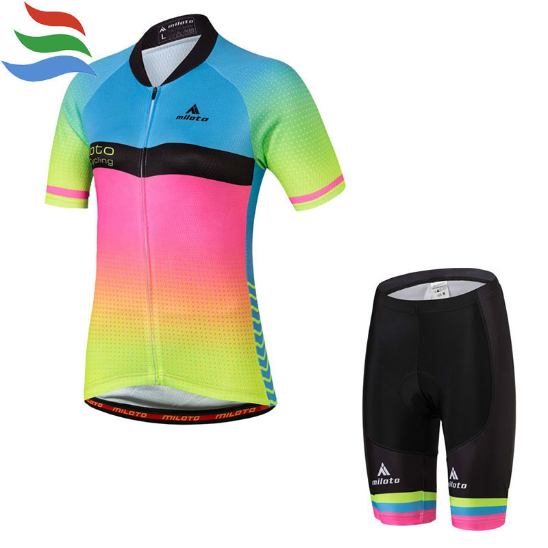 MILOTO Cycling clothing set women gel 2017 high quality ropa ciclismo summer short cycling jersey cuissard