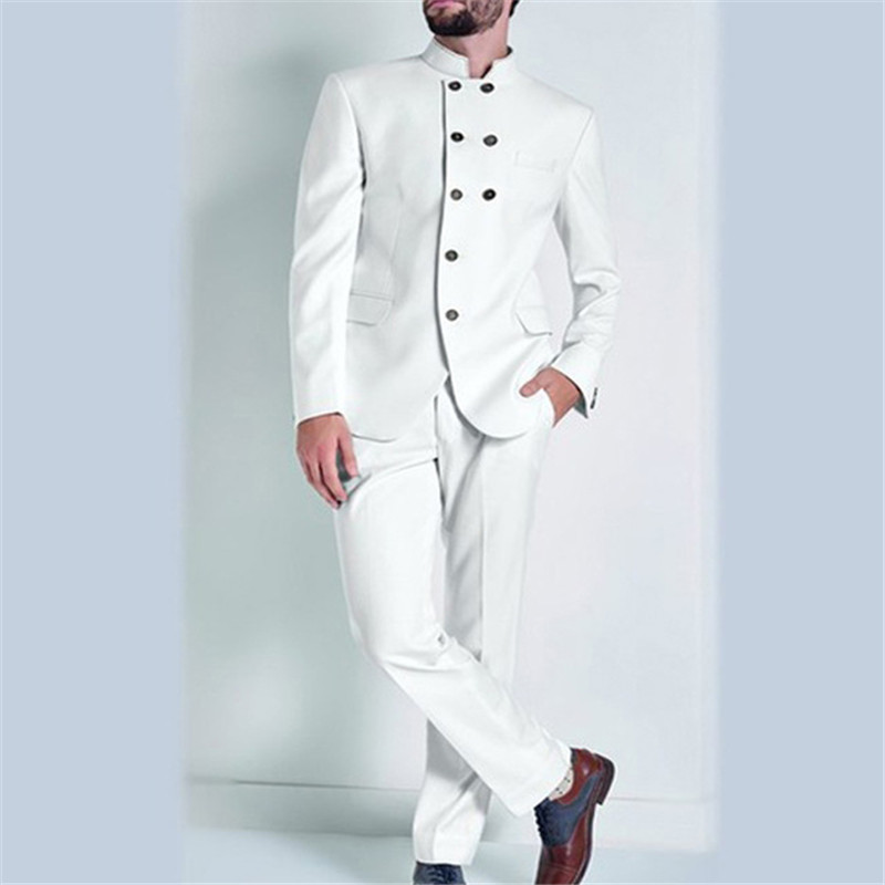 High Quality Ivory Groom Tuxedos Stand Collar Groomsmen Mens Suits Blazers (Jacket+Pants+Tie) W:719