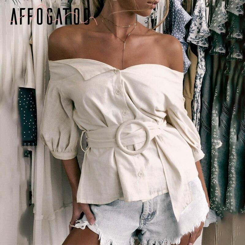 Affogatoo Sexy off shoulder sash women blouse shirt Vintage lantern sleeve cotton blouse female Casual button ladies blouse 2019