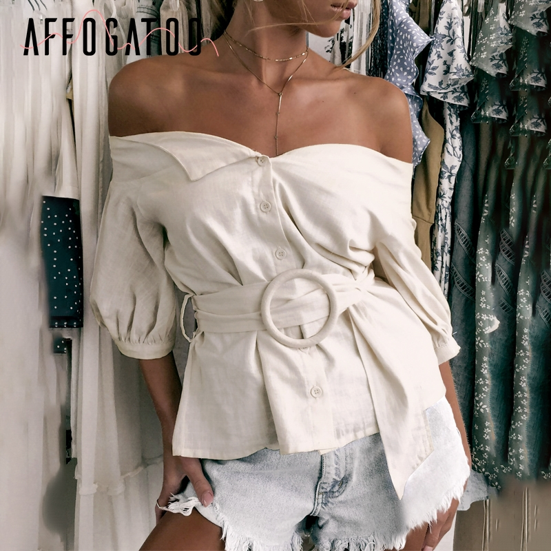 Affogatoo Sexy off shoulder sash women   blouse     shirt   Vintage lantern sleeve cotton   blouse   female Casual button ladies   blouse   2019