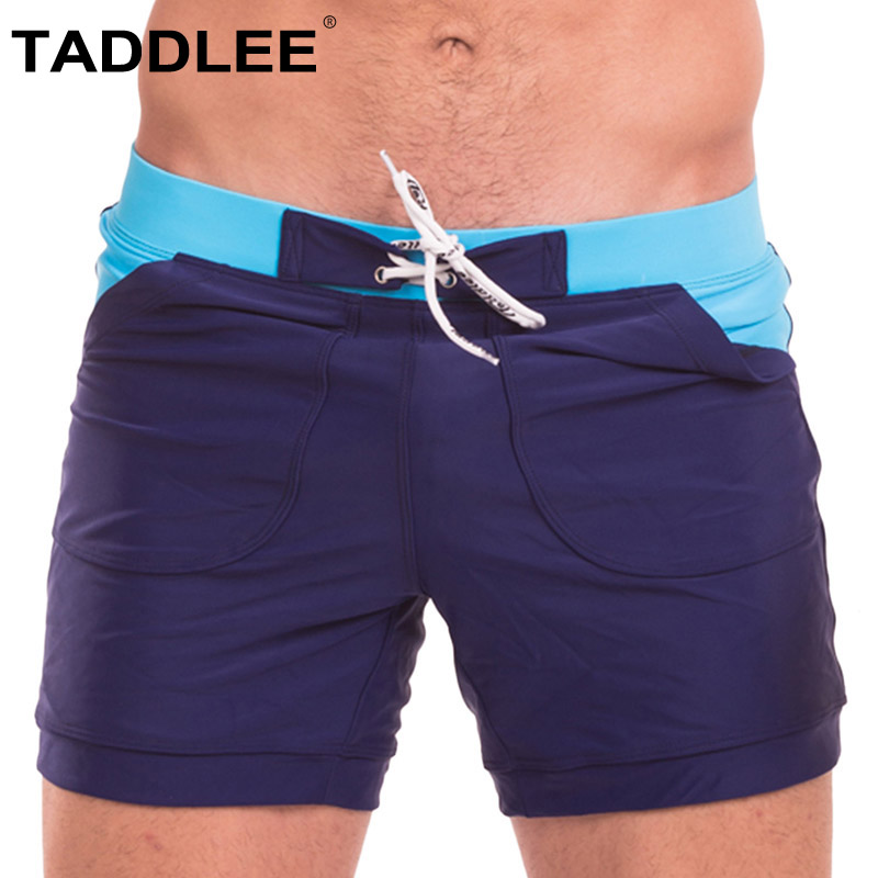 Taddlee Brand Men Swimsuits Swim Boxer Briefs Bikini Sexy Swimwear Men's Surf Board Boxer Trunks Bathing Suits Long Basic Shorts цена