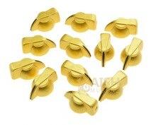 Pack of 12 Brass Insert Guitar Chicken Head Knob AMP Effect pointer Knob Gold