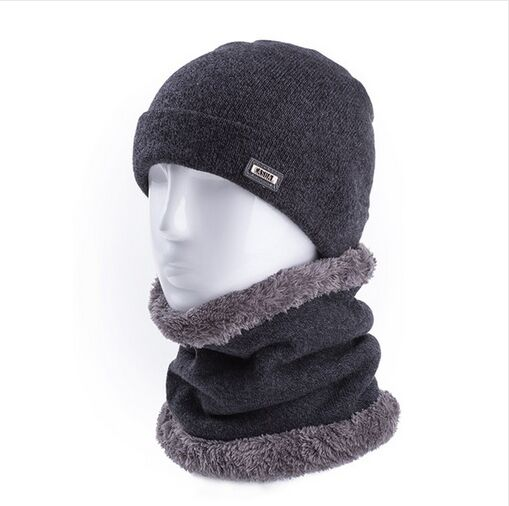 High Quality 2Pcs/Set 100% Soft Wool Warm Winter Hat Scarf For Men And Women Cashmere Beanie Cap&Scarf  Solid Knitted Hat