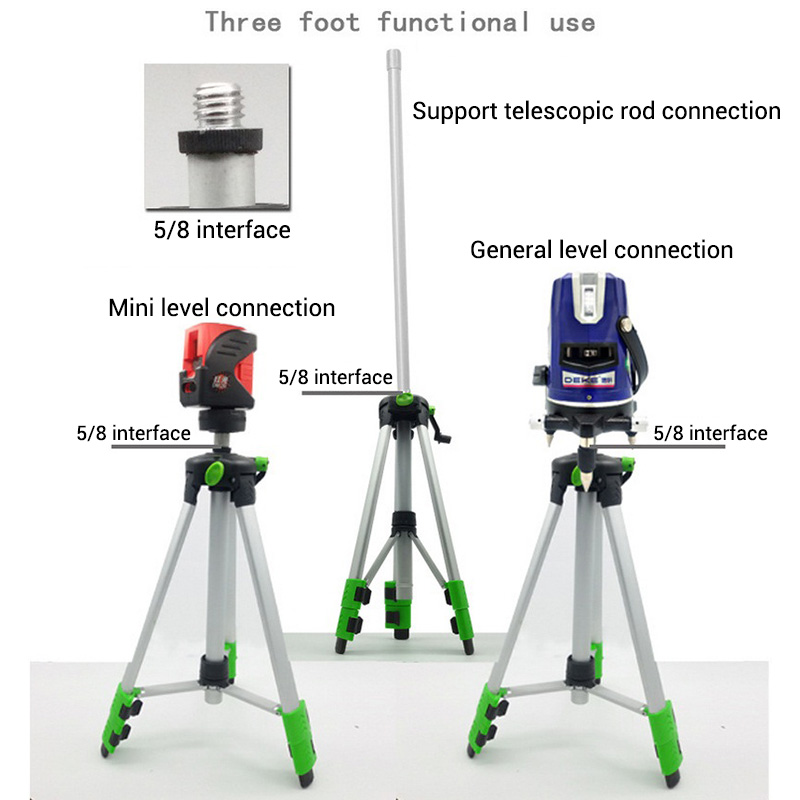120cm 150cm Laser Level Tripod with Universal Joint 5/8 Adapter Swivel Head Slash Function Extension Rod for Adjustable Bracket firecore 1 4 turn 5 8 universal stainless steel tripod bracket adapter for laser level
