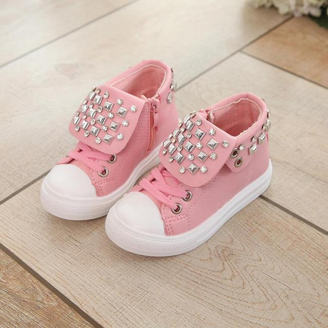 New Fashion Rivet Children Shoes New Autumn Solid Pu Leather Kids Boots Zips High Quality Boys Girls Sneakers