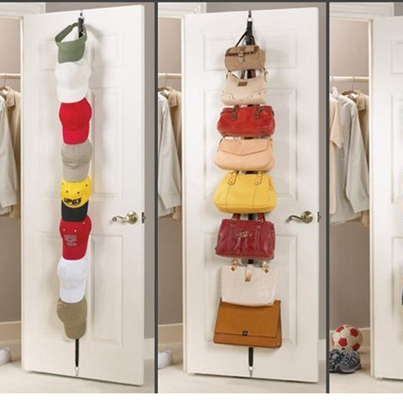 Adjustable Overdoor Strap Hanger Hat Bag Clothes Coat Rack Home Organizer 7 Hooks Home Bathroom Bedroom Supply Bathroom Fixtures
