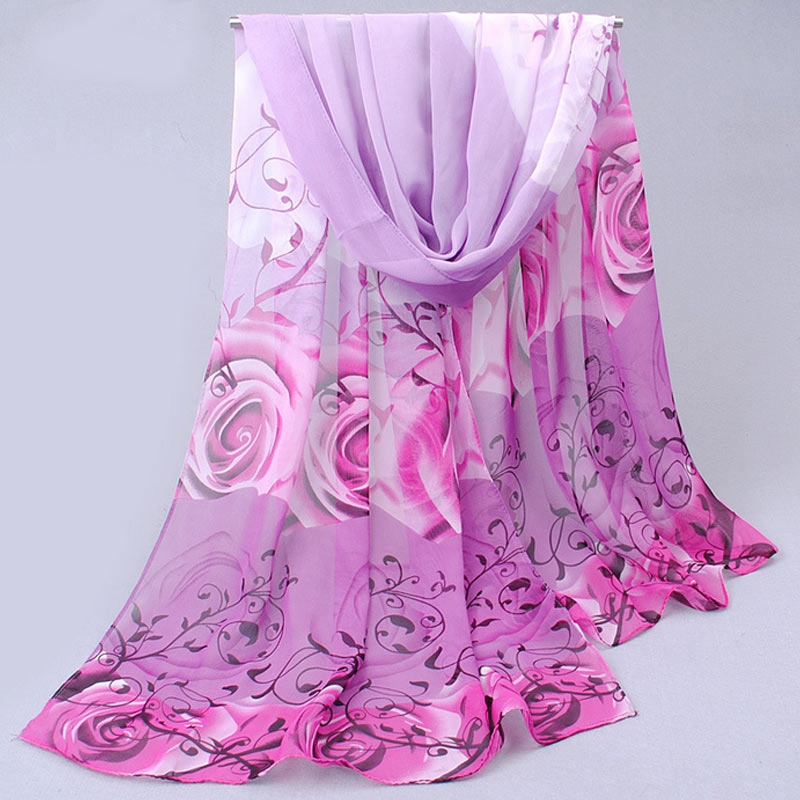 Fashion Silk Scarf Classical Rose Printing Chiffon Silk Soft Scarfs Shawl Scarves Women's Scarves  -MX8