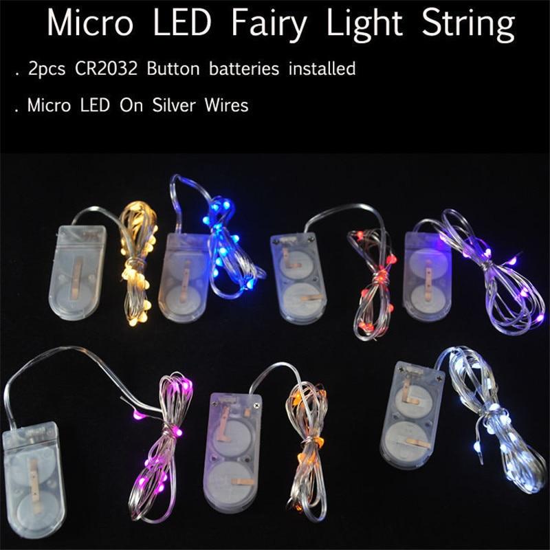 100pcs/lot CR2032 Button Cell Battery Operated 1M 10LED Micro LED String Light,Battery LED Light For Eiffel Tower Vase Lighting