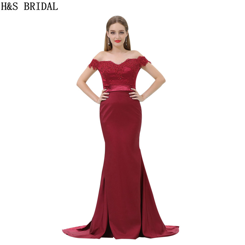 H&S BRIDAL Off Shoulder Sweetheart burgundy   bridesmaid     dresses   Lace Applique Beaded   bridesmaid     dress   V Back vestidos de festa