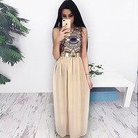 2017 New Fashion Women Bohemian Dresses O Neck Sleeveless Printed Long Dress Ladies Casual Dresses
