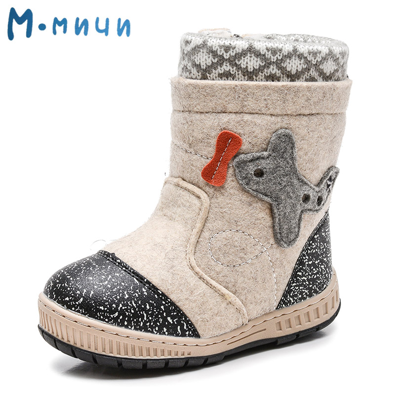 MMNUN Wool Felt Boots Warm Children's Winter Shoes Boys Brand Little Boys Snow Boots for Toddler Kids Children Shoes Size 27-32
