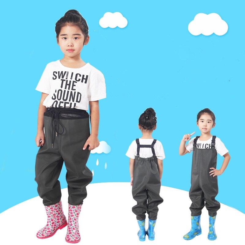 Girl boy children fishing leather fork siamese suspender pants rain <font><b>boot</b></font> kids angling waterproof wader waist trousers water shoe