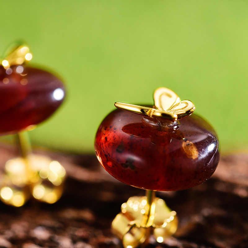 Lotus Menyenangkan Asli 925 Sterling Silver Anting-Anting untuk Wanita Alami Amber Kupu-kupu Kecil Stud Anting-Anting Korea Anting-Anting Perhiasan Wanita