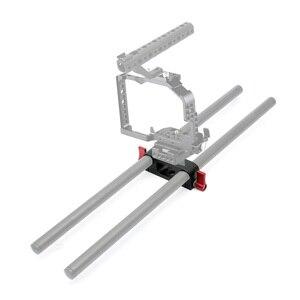 Image 5 - 15mm çubuk Rig kelepçe çift delik 1/4 3/8 iplik telefoto Lens tutucu destek ray fotoğraf sistemi DSLR kamera kafesi