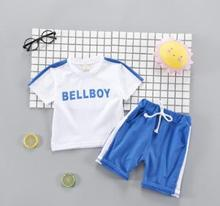 Children's Set 2019 Summer Korean New Stylish Short Sleeve Suits for Kids Baby Boy Girls Letter Print Pullovers SY-F182209