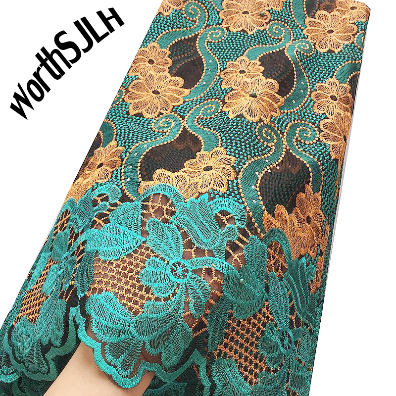 Swiss French Net Lace Fabric 2019 Yellow Green Wedding African Lace Fabric High Quality Beaded Bridal Lace Fabric With Stones in Lace from Home Garden