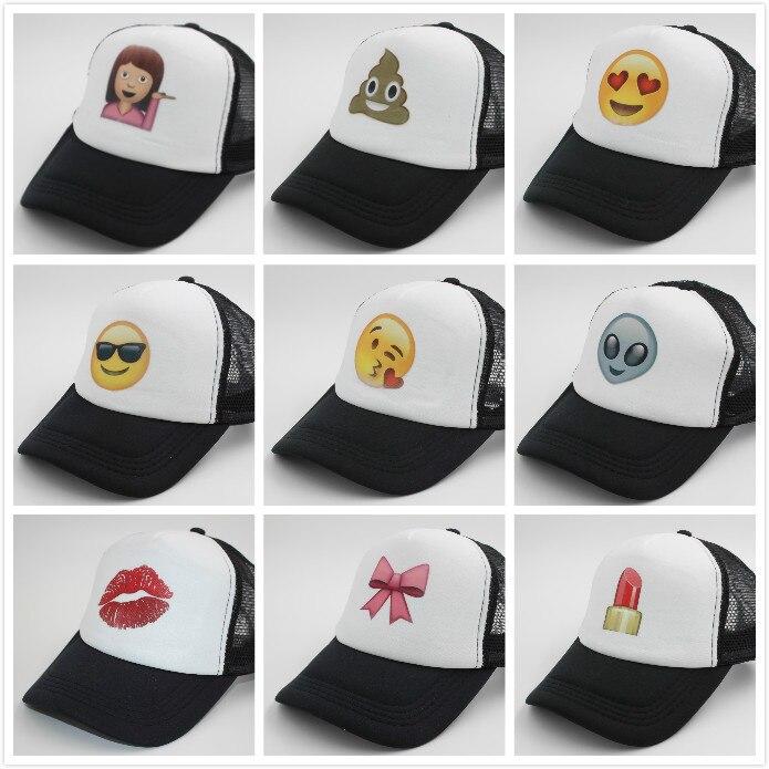 Prix pour Emoji Imprimer Baseball Cap Pour Femmes Hommes Harajuku Camionneur En Maille Chapeau Snapback Unisexe Réglable Taille Drop Ship M203-1